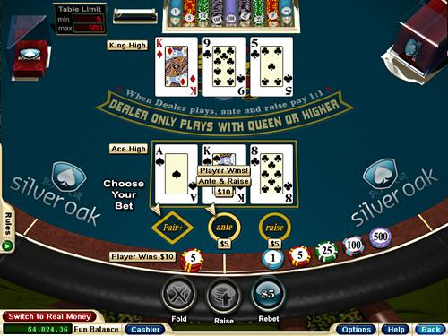 borgata 3 card poker rules raise