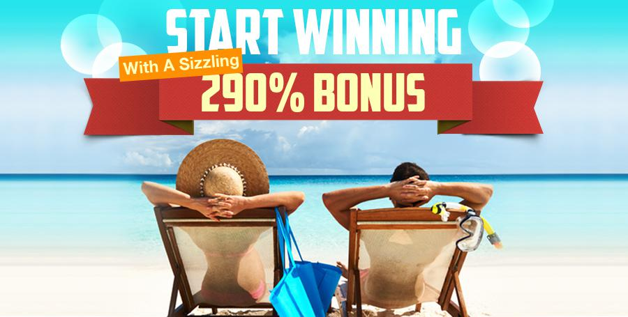 Start Winning a sizzling 290% Bonus